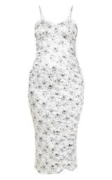 455fdfe71 Robe mi-longue froncée satinée blanche à petites fleurs