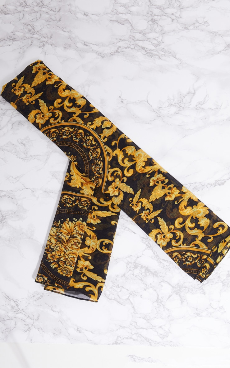 Gold Chain Print Head Scarf 6