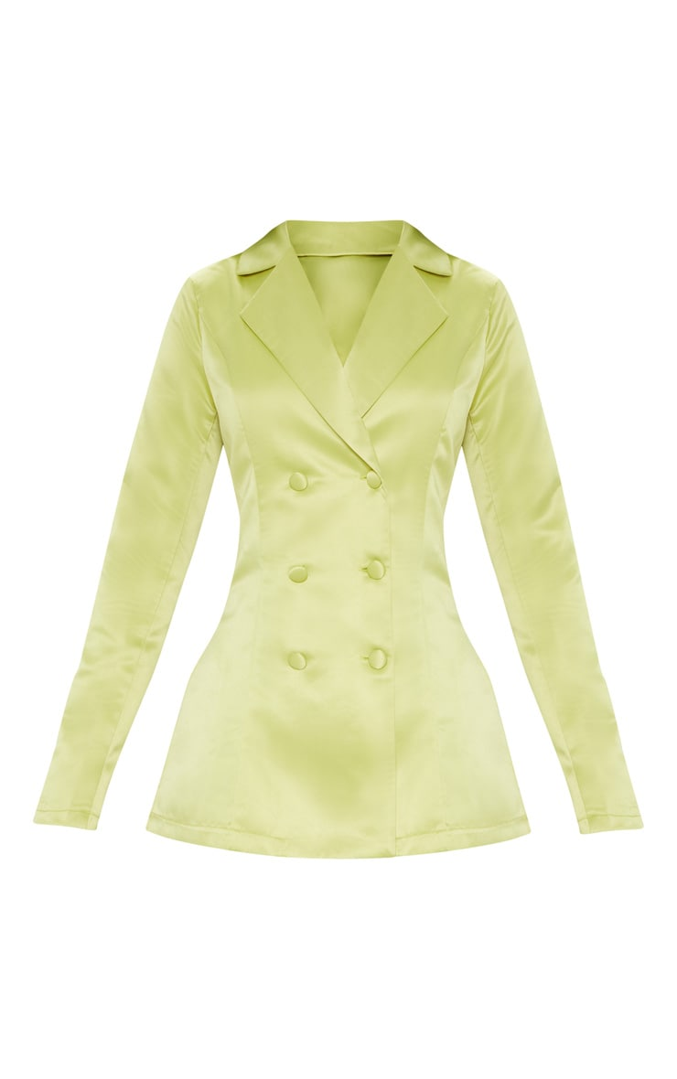 Lime Double Breasted Satin Jacket 3