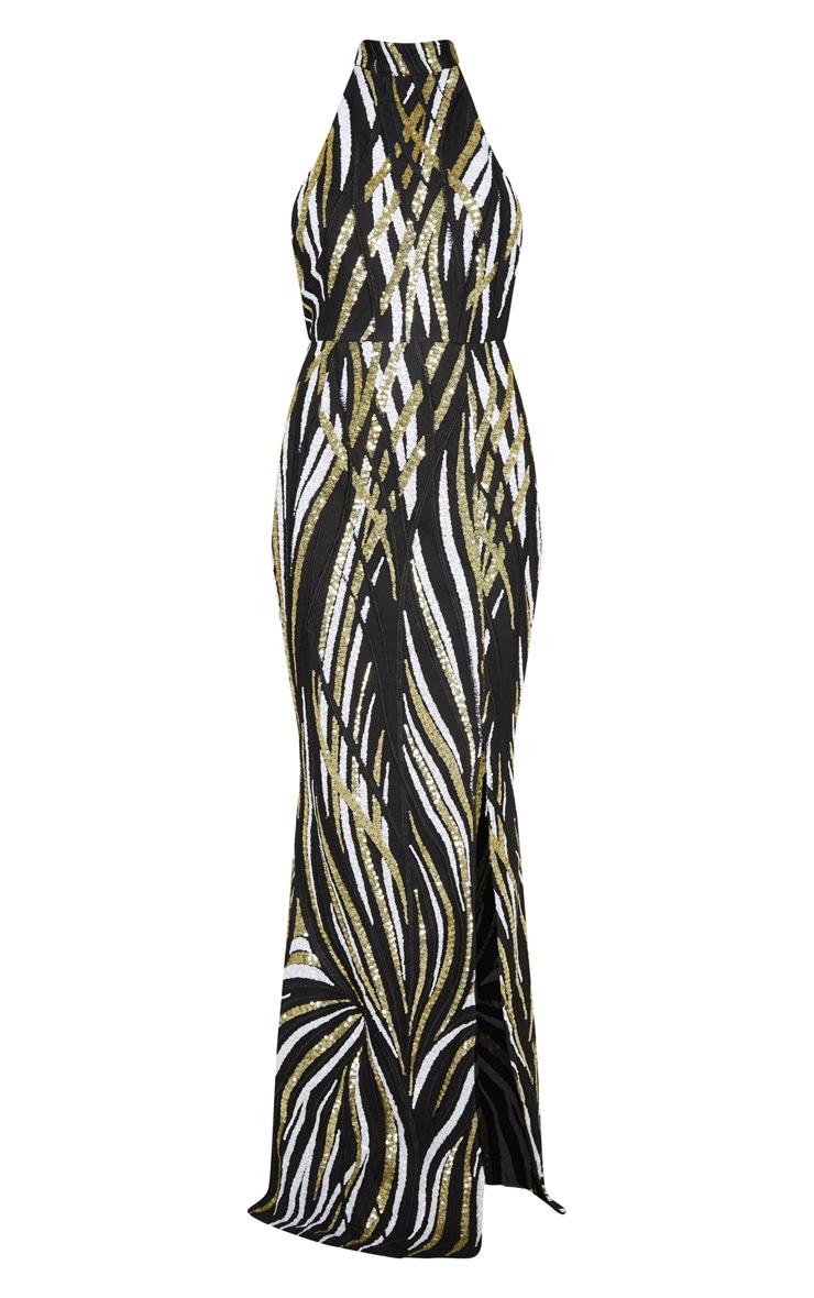Robe longue sirène noire à rayures en sequins 3