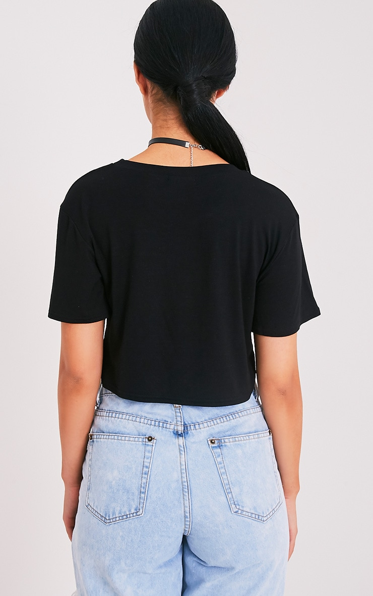 Forever Young Slogan Black Cropped T Shirt 2