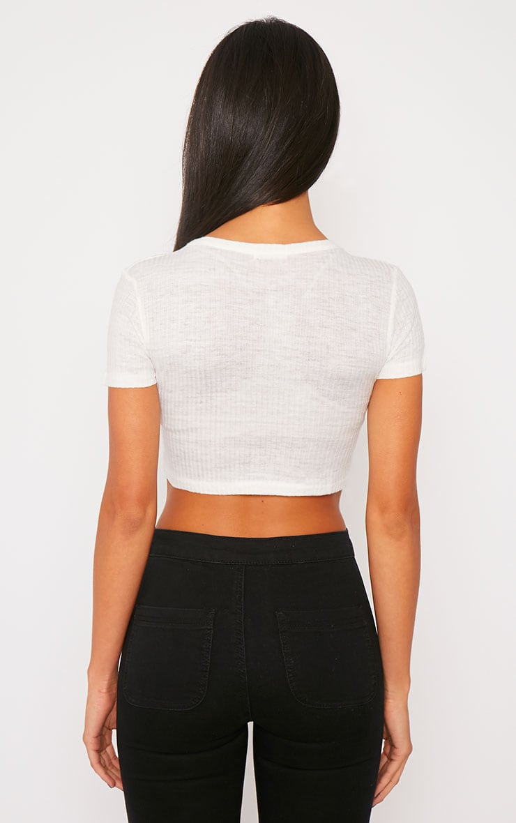 Basic White Rib Crop Top 2
