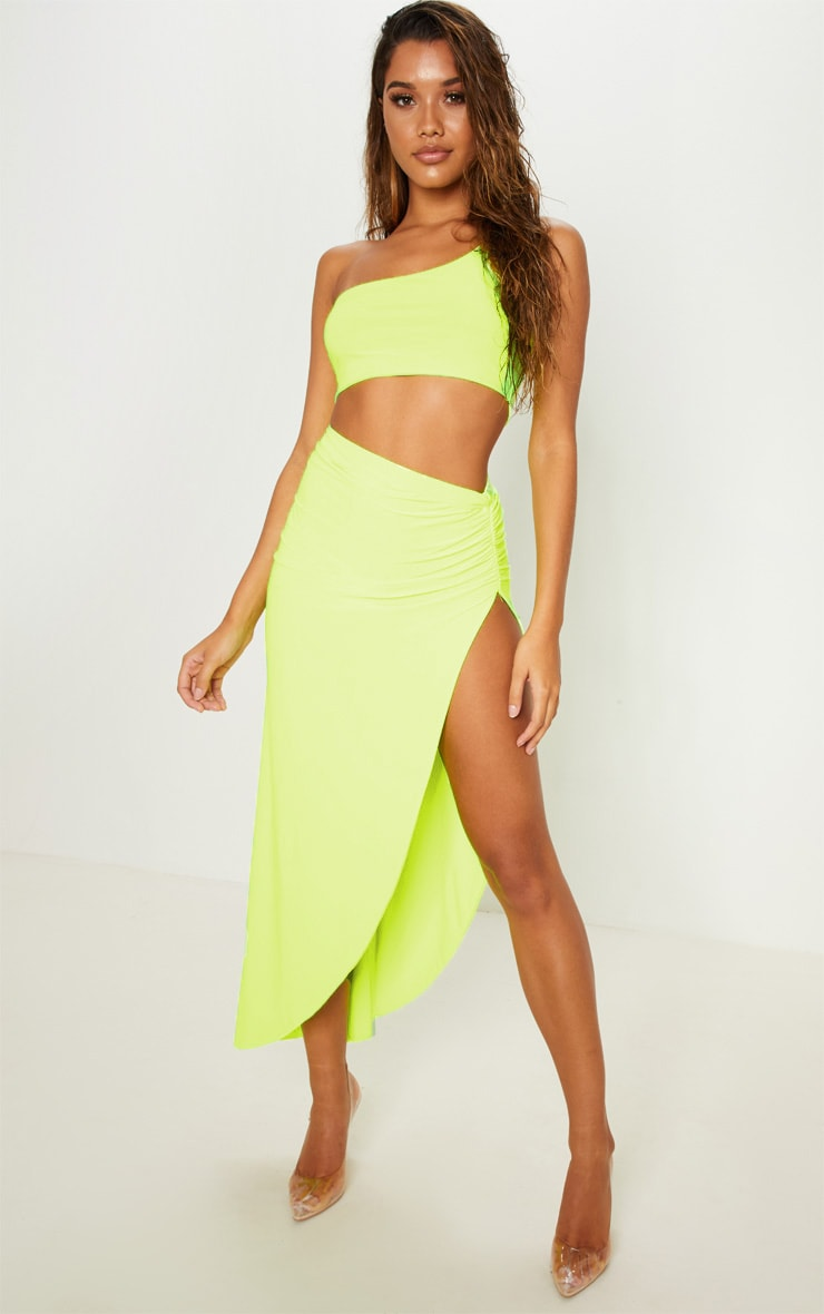 Neon Yellow Ruched Side Split Midaxi Skirt 2