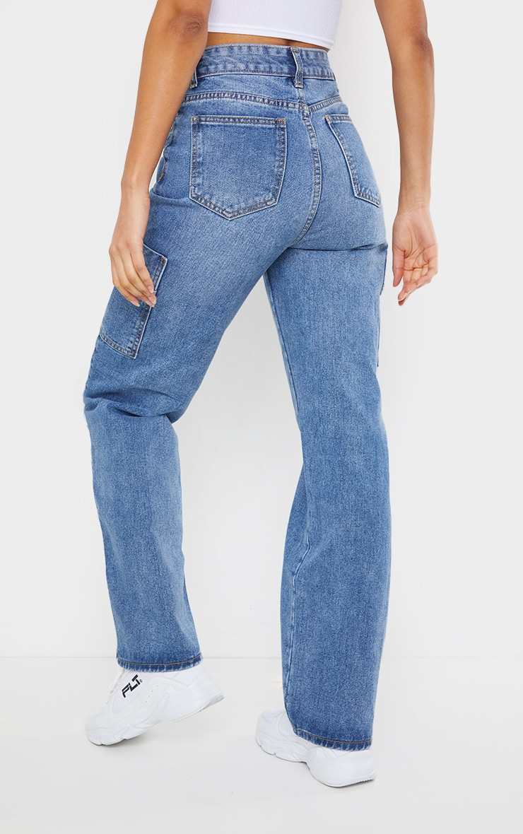 Mid Blue Wash Wide Leg Distressed Cargo Jeans 3