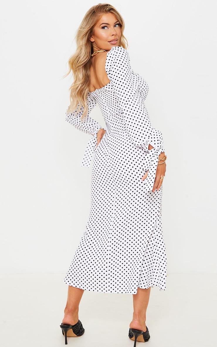 White Polka Dot Puff Sleeve Tie Cuff Midi Dress 2