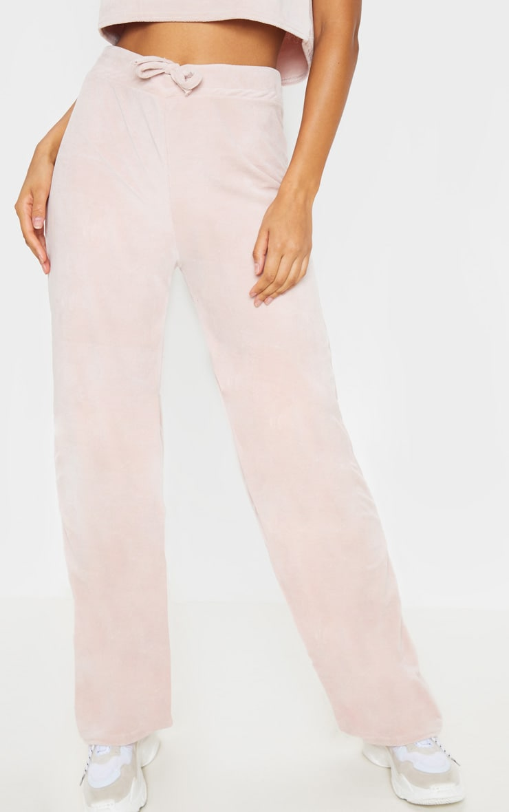Rose Pink Velour High Waisted Wide Leg Trouser 4