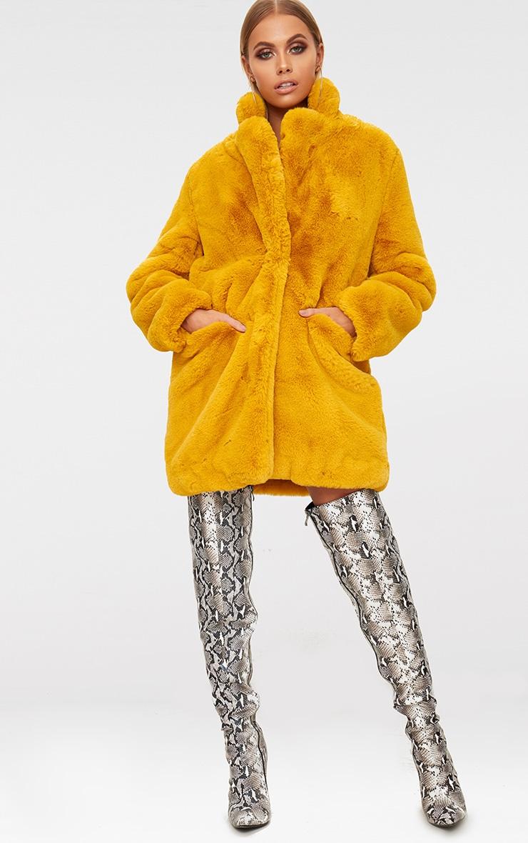 Mustard Premium Faux Fur Coat 4