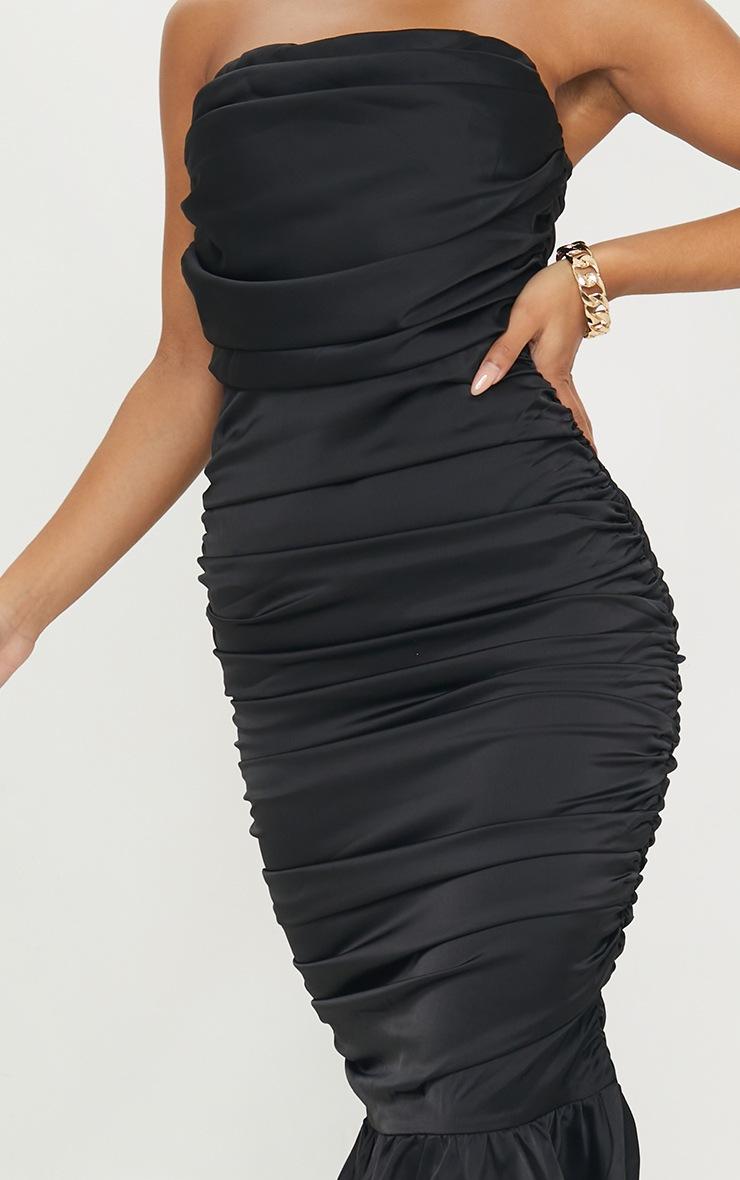 Black Satin Bandeau Ruched Frill Hem Midi Dress 4