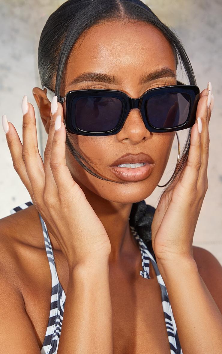 Black Rectangle Thick Frame Sunglasses image 1