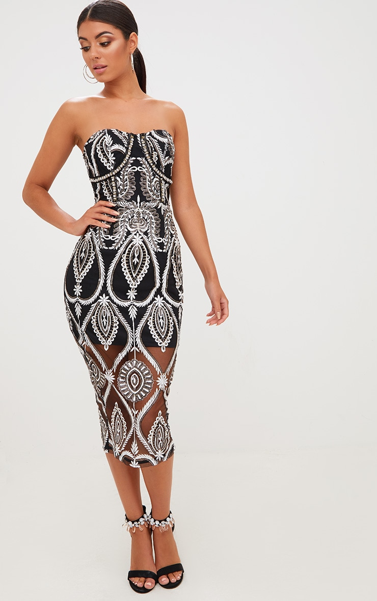 Premium Black Sequin Embroidered Bandeau Midi Dress 5