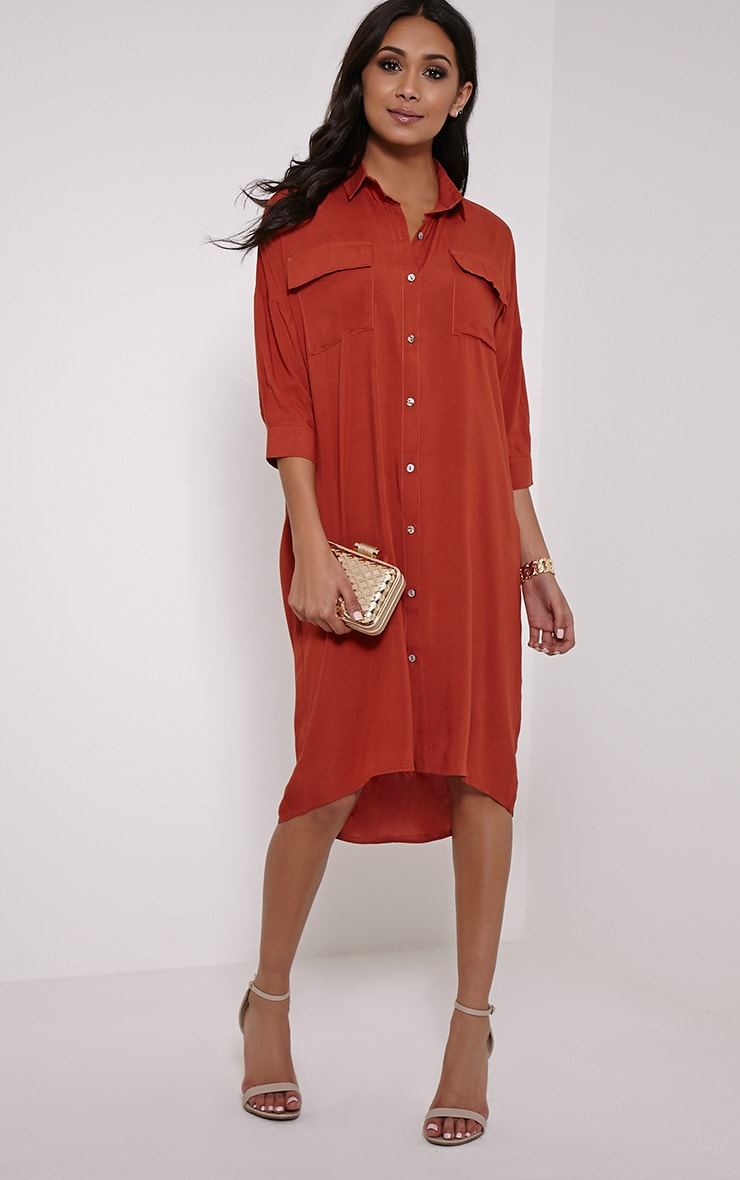 Perrin Rust Longline Shirt Dress 1