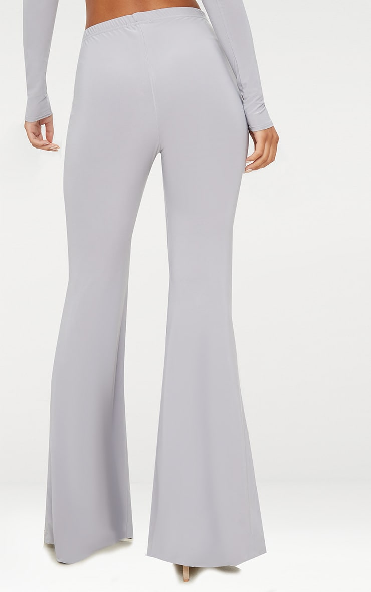 Grey Slinky Double Layered Flared Trouser 3
