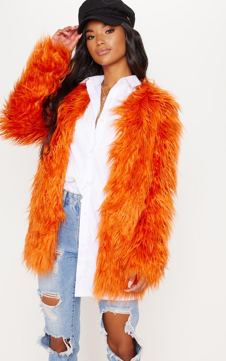 Rust Midi Shaggy Faux Fur 4