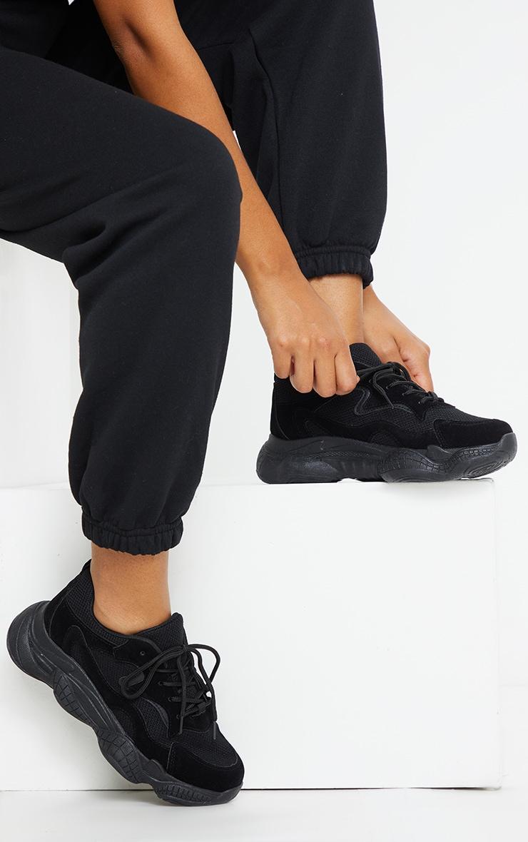 Black Double Bubble Sole Lace Up Sneaker 1