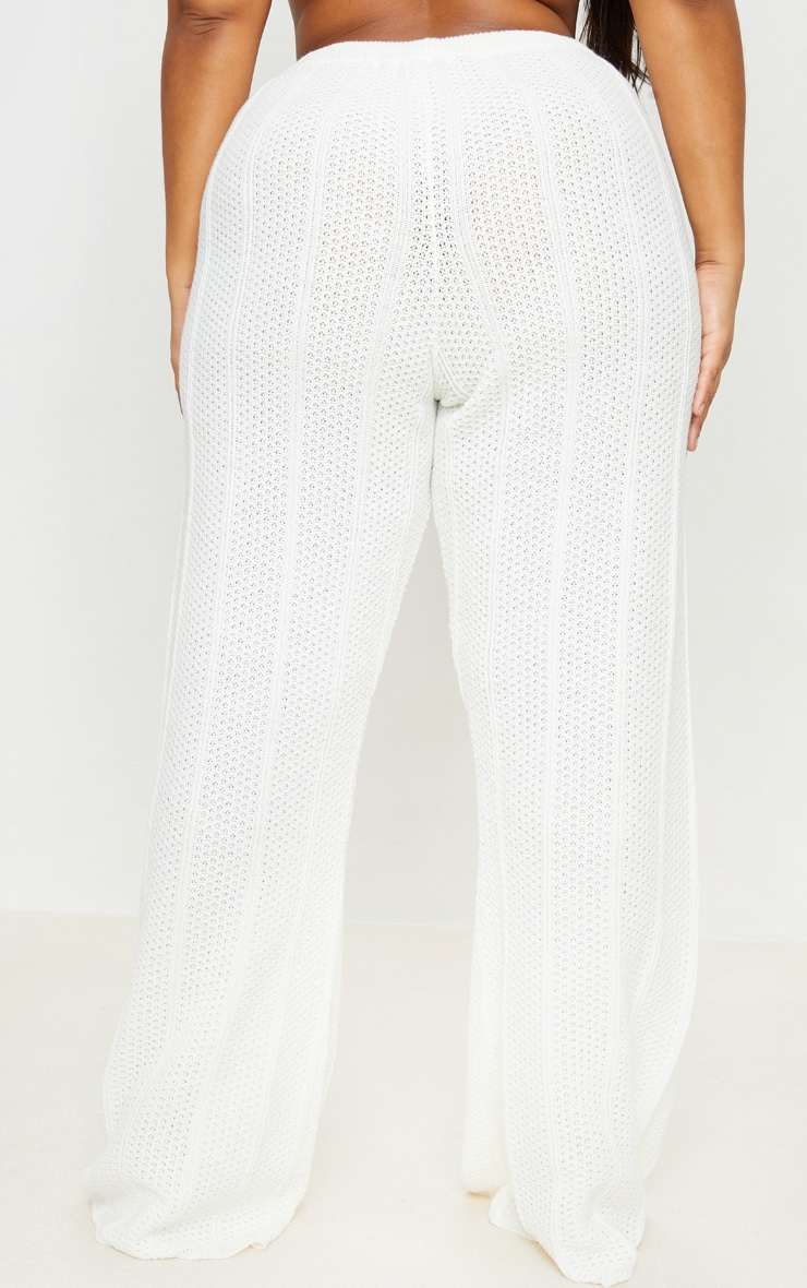 Plus Cream Knit Wide Leg Pants 3