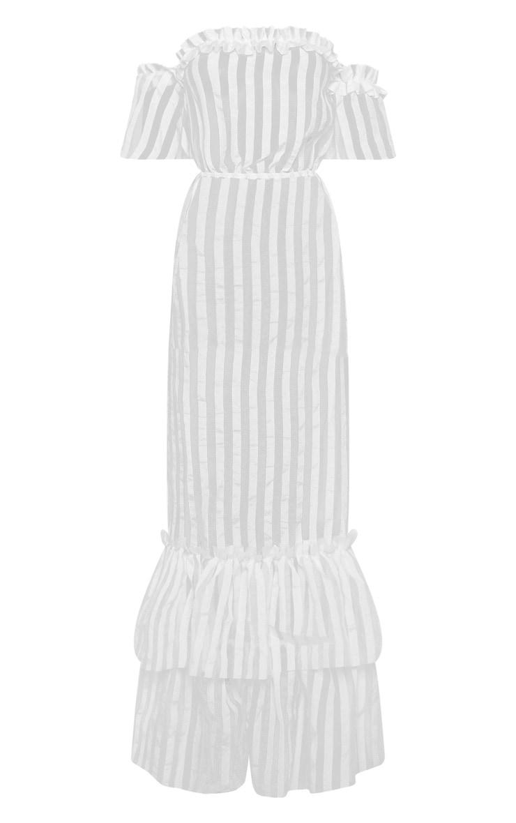 White Bardot Mesh Stripe Frill Hem Maxi Dress 3