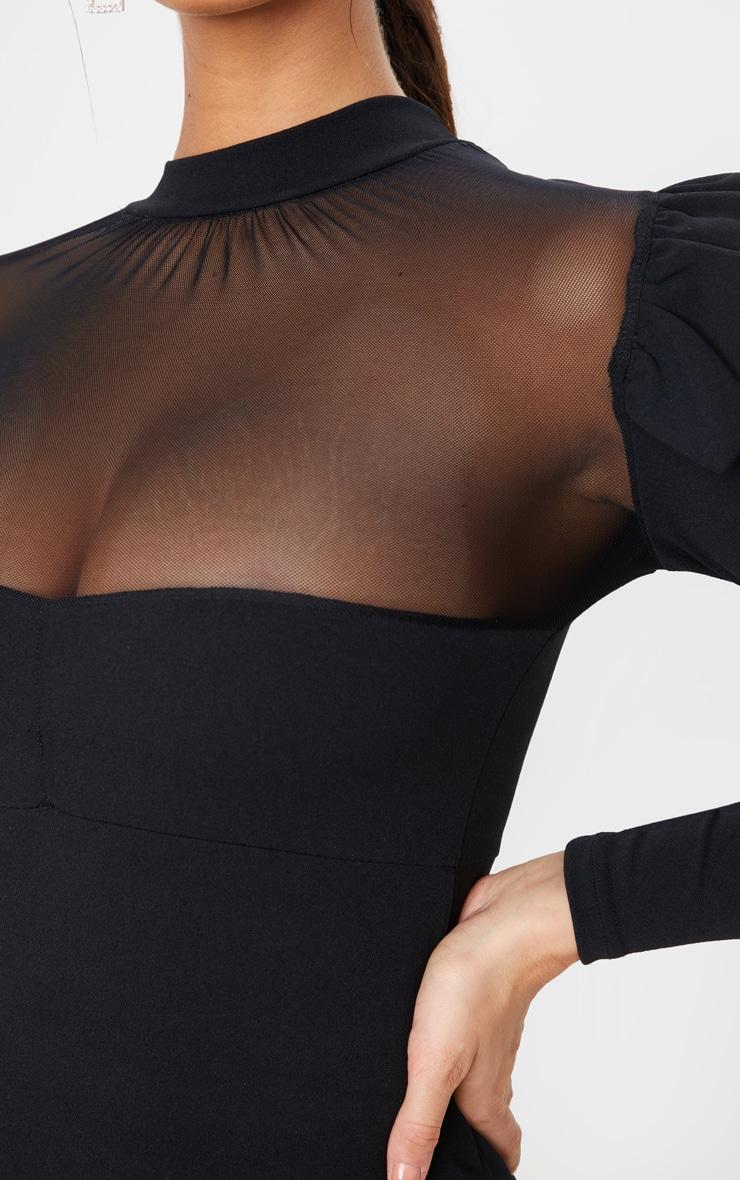 Black Frill Shoulder Mesh Insert Long Sleeve Bodycon Dress 5