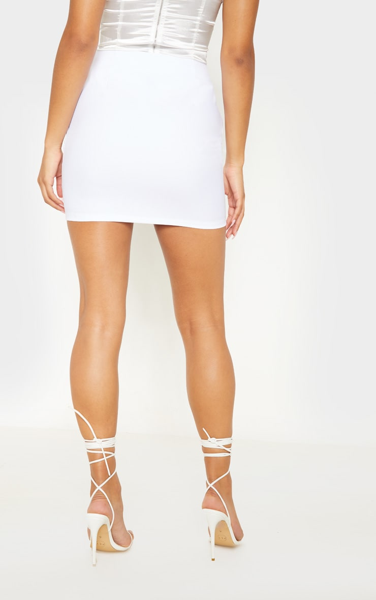 White Diamond Split Mini Skirt 4
