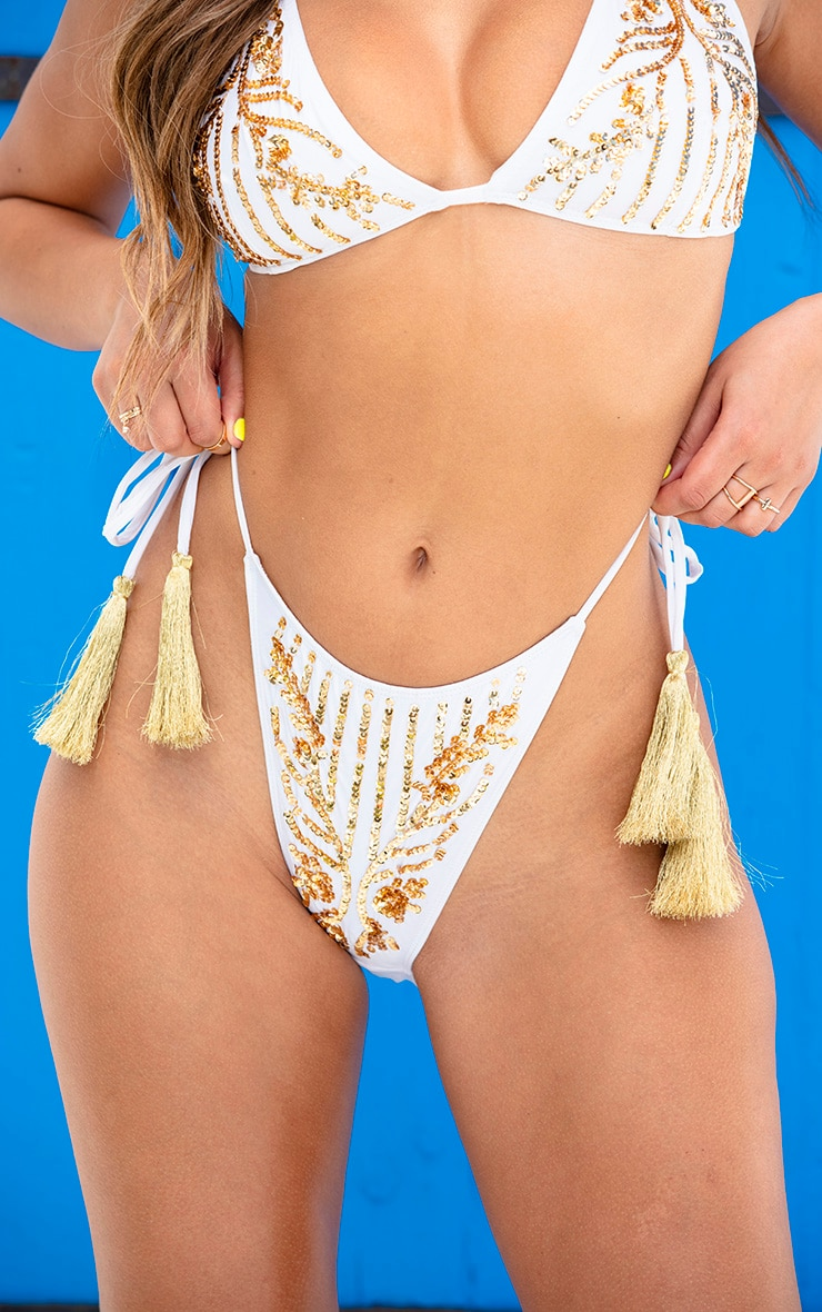 White Triangle Sequin Tassel Bikini Bottom