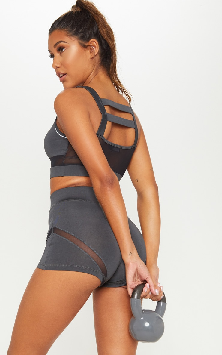 Charcoal Cage Back Reflective Sports Bra 2