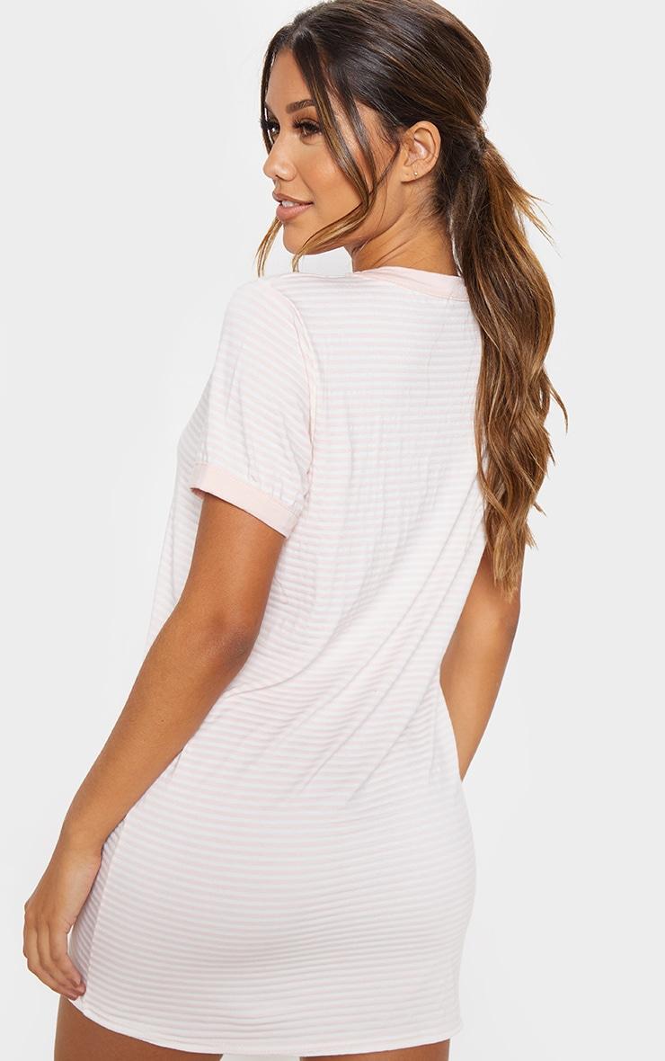 Baby Pink Stripe Crew Neck T Shirt Dress 2