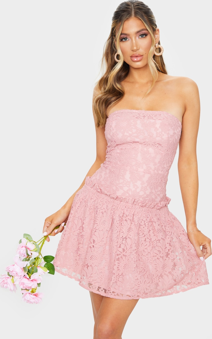 Rose Lace Bandeau Frill Hem Skater Dress 1