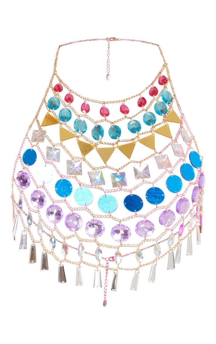 Multi Colour Multi Gemstone Halterneck Body Jewellery 3