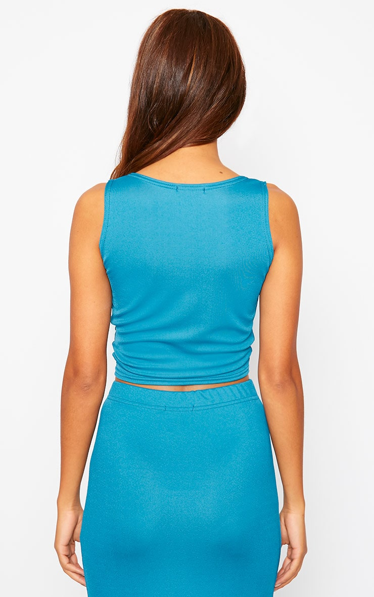 Zuri Turquoise Crepe Sleeveless Knot front Crop Top 2