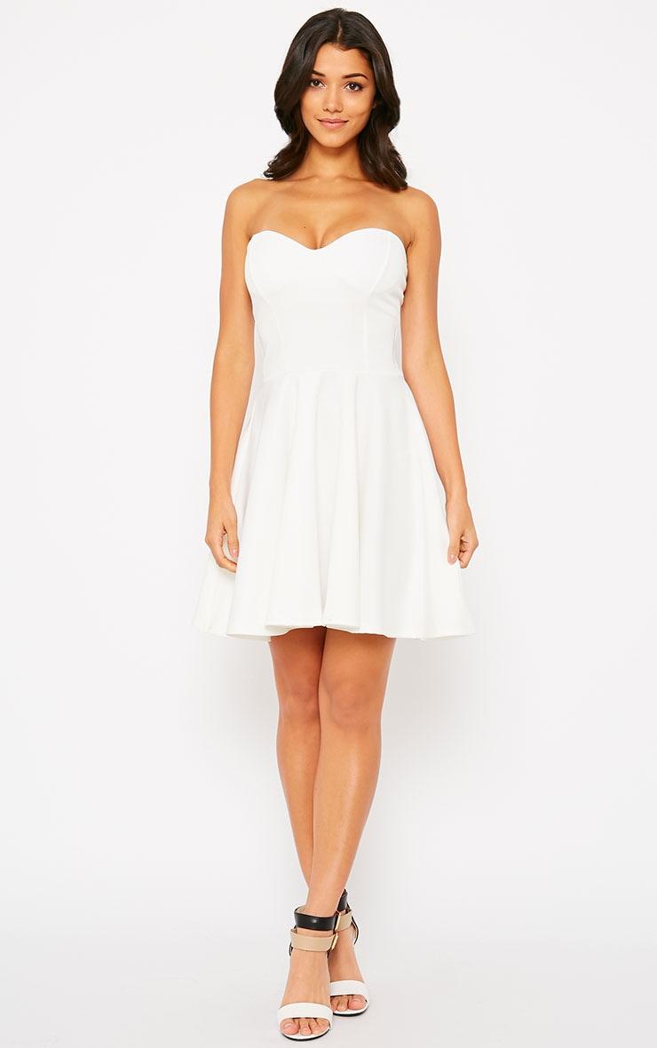 Marissa Cream Strapless Skater Dress 3