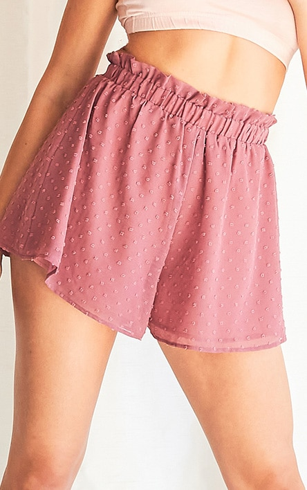 Dusty Pink Textured Chiffon Floaty Short 4