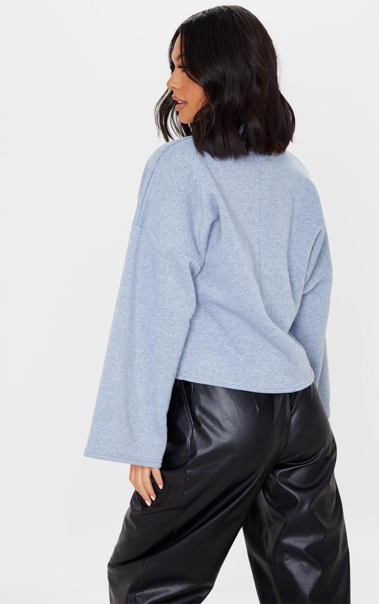 Grey Fleece Roll Neck Sweater 2