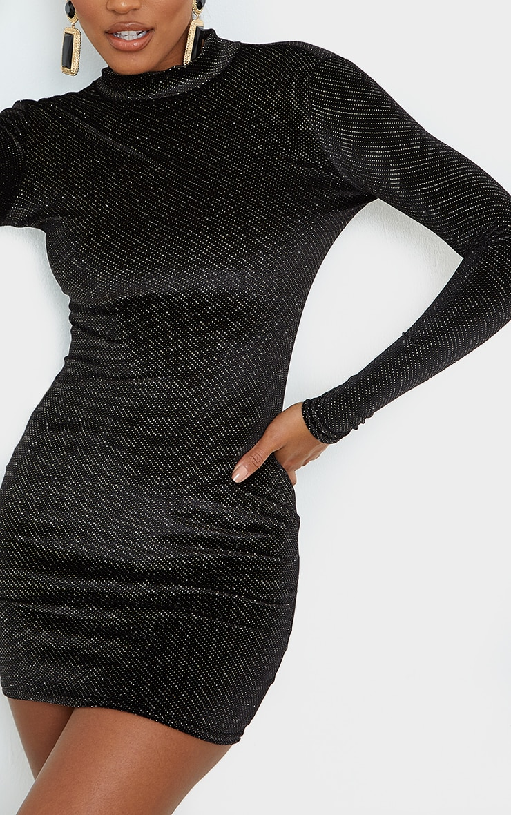 Black Velvet Glitter Neck Long Sleeve Thumb Hole Bodycon Dress 4