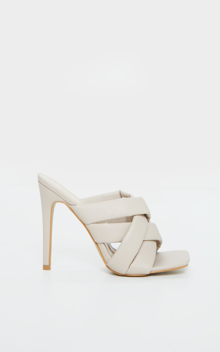 Cream Wide Fit Quilted Woven Strap High Mule Heels 5