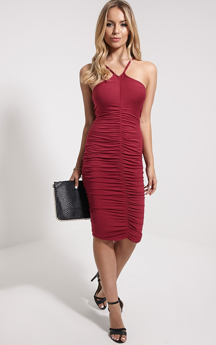 Tarina Oxblood Ruched Front Midi Dress 4