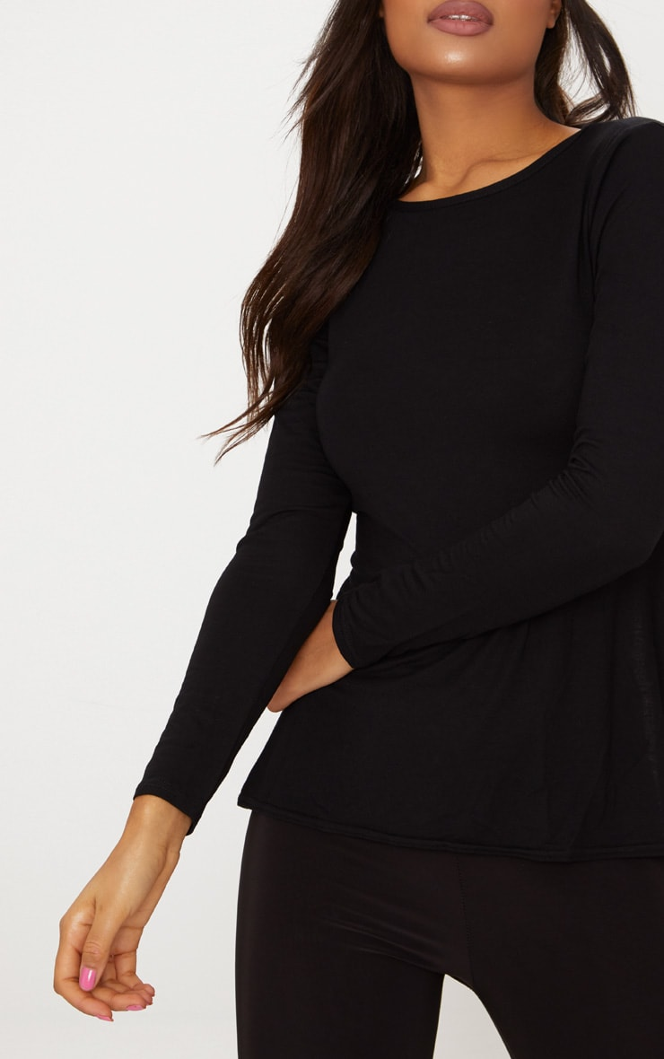 Black Long Sleeve Open Tie Back Top  5