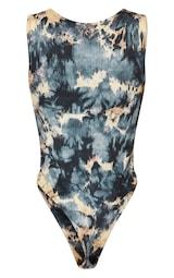 PRETTYLITTLETHING Shape Charcoal Tie Dye Thick Rib Bodysuit 6