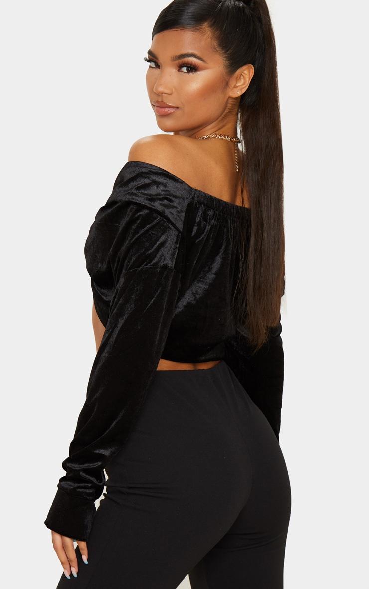 Black Velvet Twisted Front Bardot Long Sleeve Crop Top 2