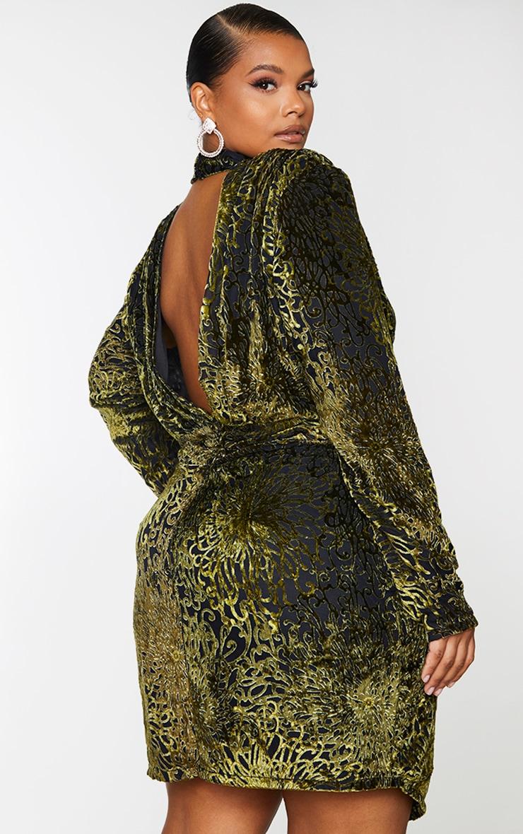 Plus Khaki Floral Velvet Backless Bodycon Dress 2