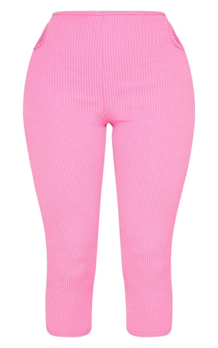 Shape Pink Textured Rib Cut Out Side Cropped Leggings 5