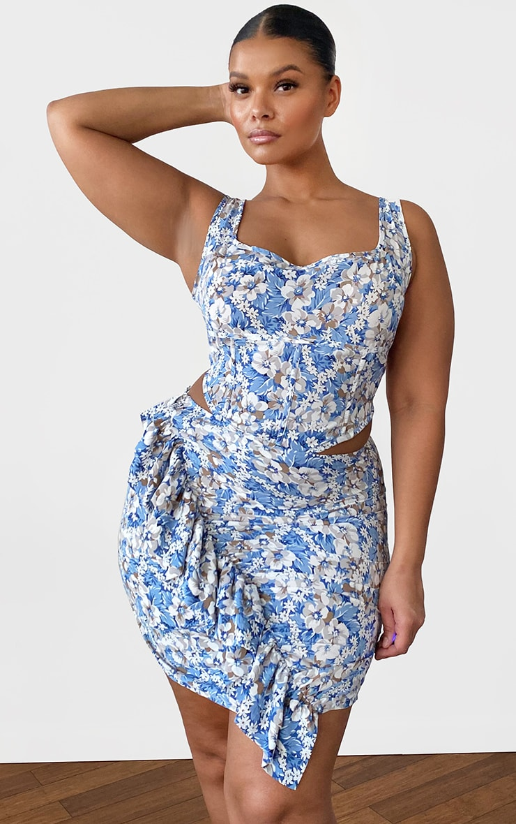 Plus Dusty Blue Floral Seam Detailed Crop Top 1