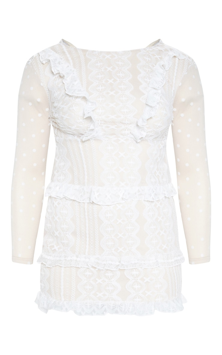 Plus White Lace Embroidered Frill Shift Dress 3
