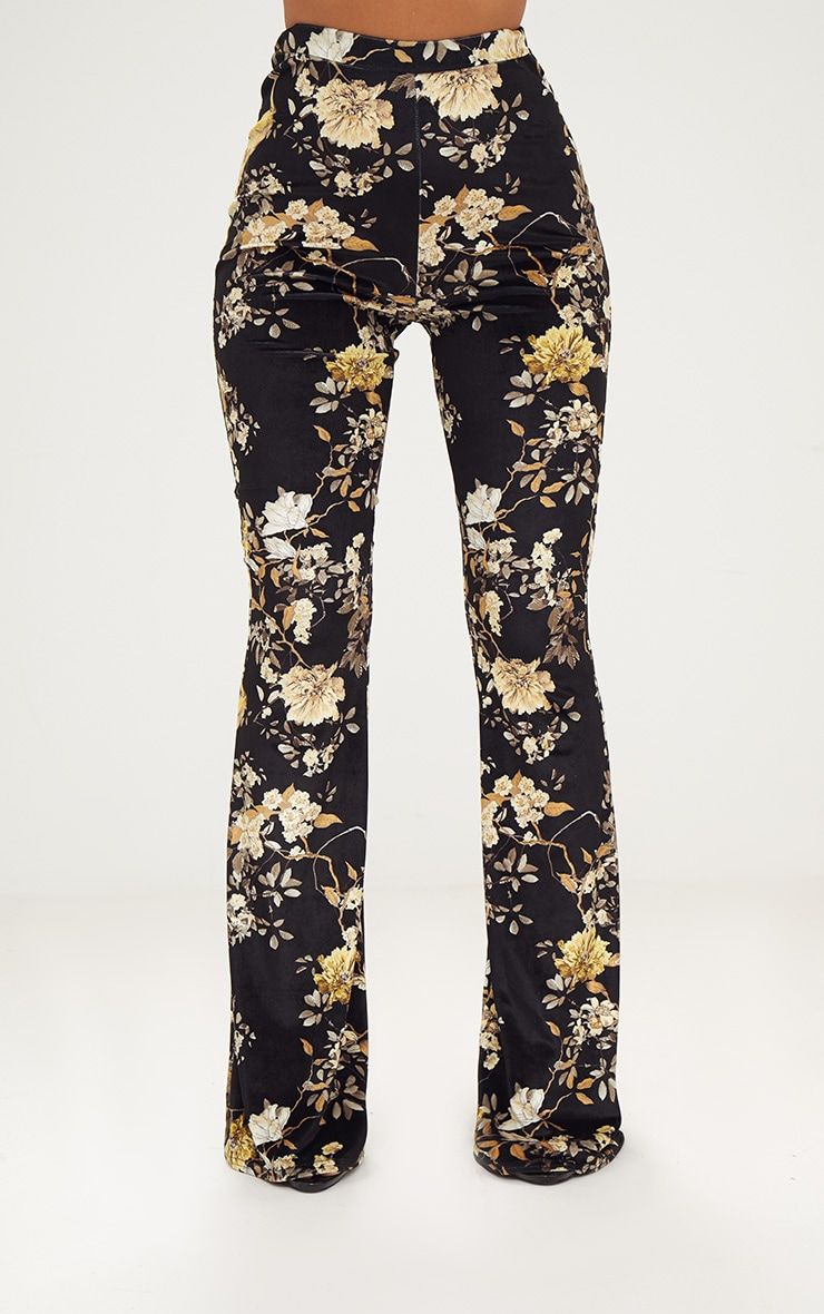 Black Floral Velvet Flared Trousers 2