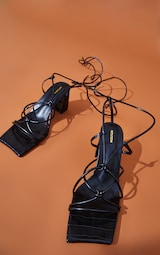 Black Wide Fit Square Toe Knotted Lace Up Block Sandals 3