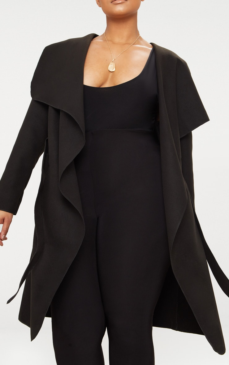 Plus Black Waterfall Coat 5