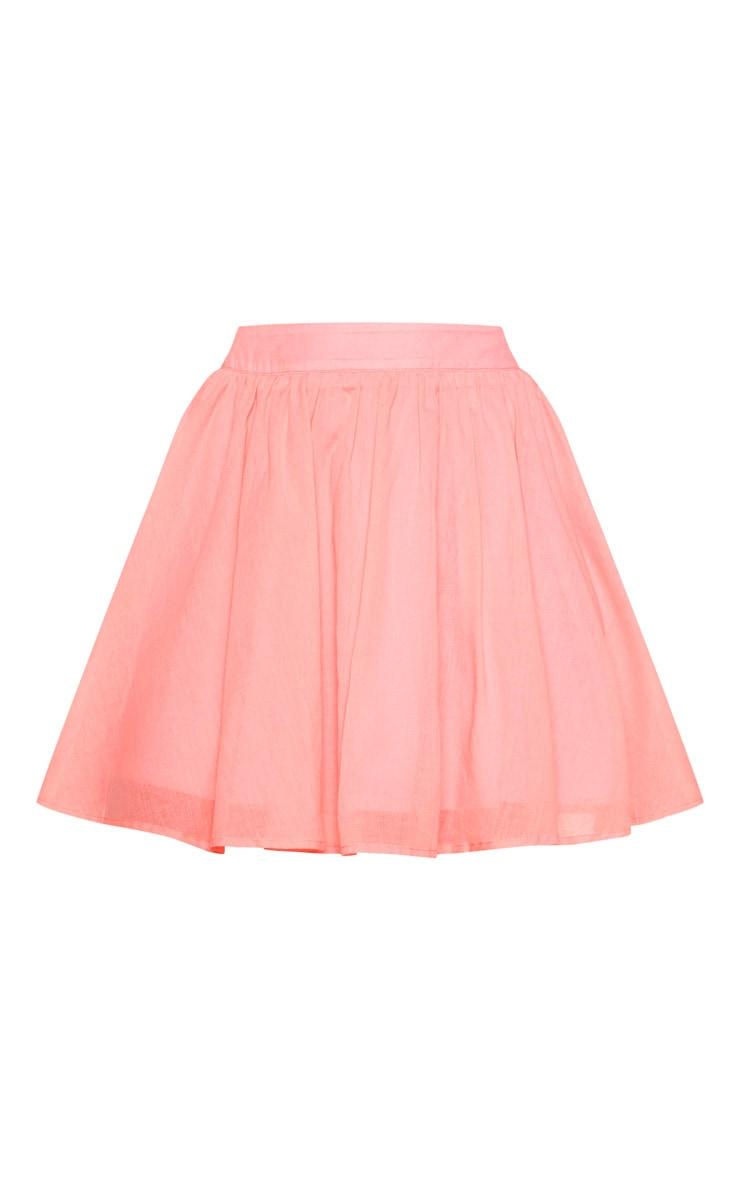 Pink Woven Full Skater Skirt  3