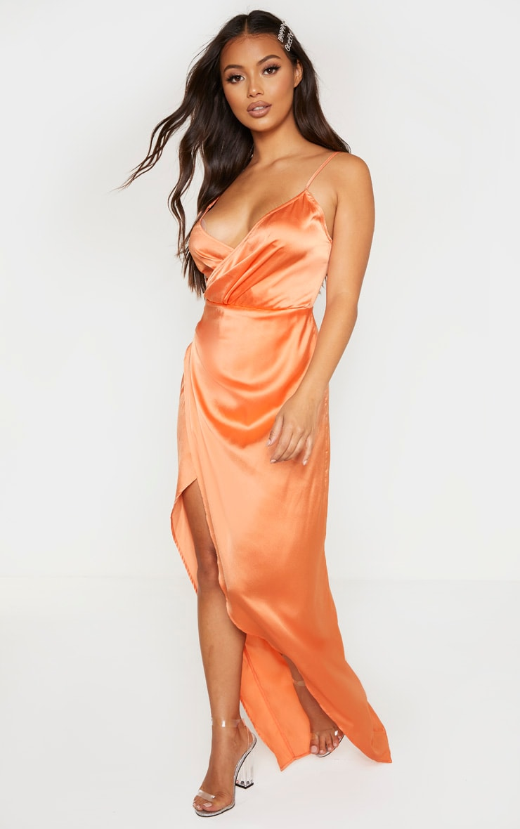 Petite Peach Satin Wrap Detail Maxi Dress 4