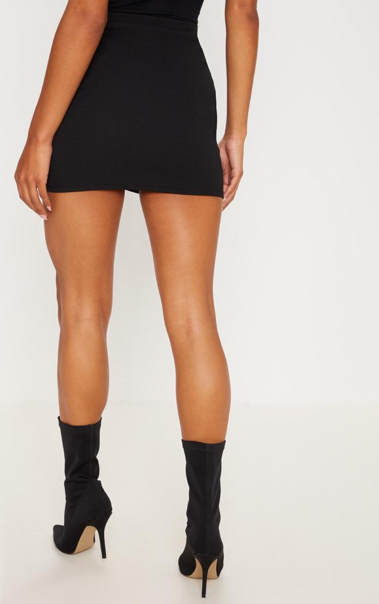 Black Ruched Detail Mini Skirt 4