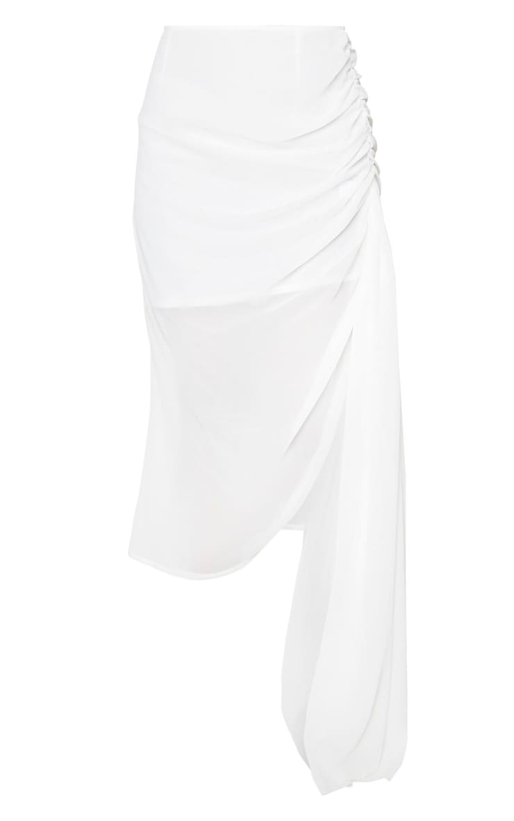 White Woven Ruched Side Panel Midi Skirt 5