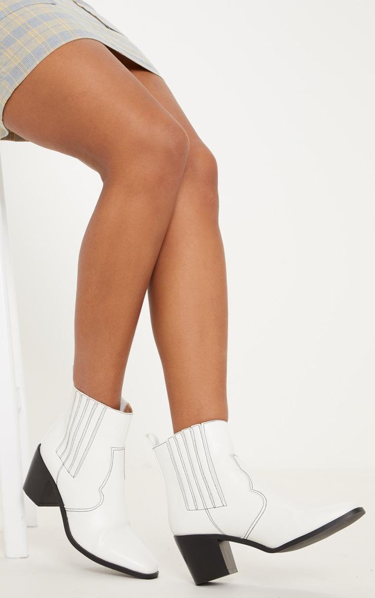 White Contrast Stitch Square Toe Western Boot