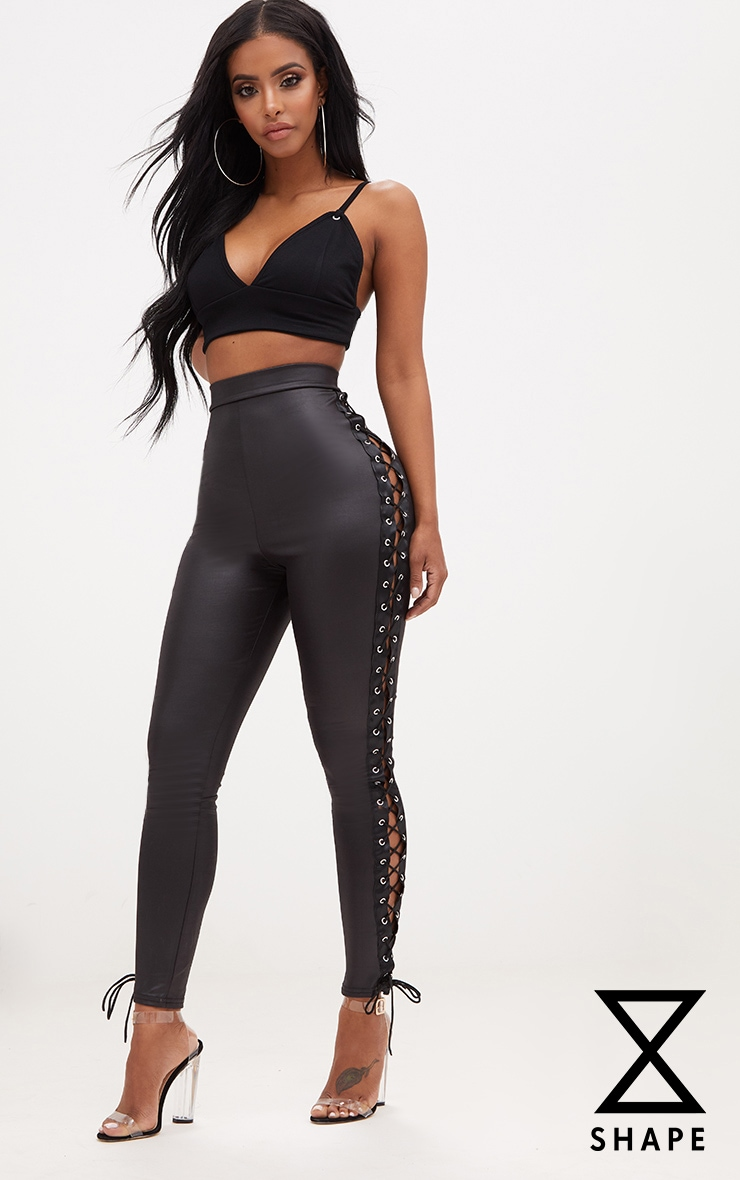 Shape Wet Look Lace Up Side Leggings 1